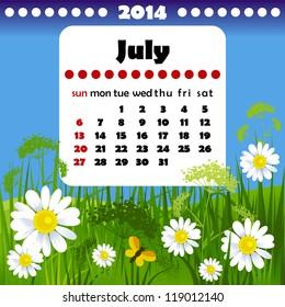 2014 year calendar in vector. July
