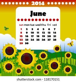 2014 year calendar in vector. June
