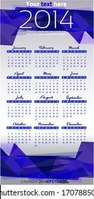 2014 year vector calendar purple vertical template