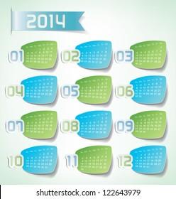 2014 Yearly Calendar. Sticker labels design illustration