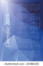 2015 calendar with blue triangles vector background