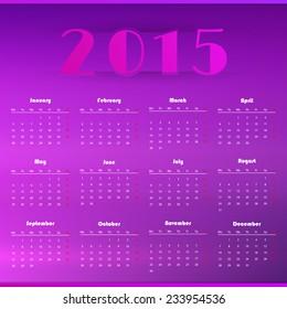 2015 Calendar design, week starts with Monday