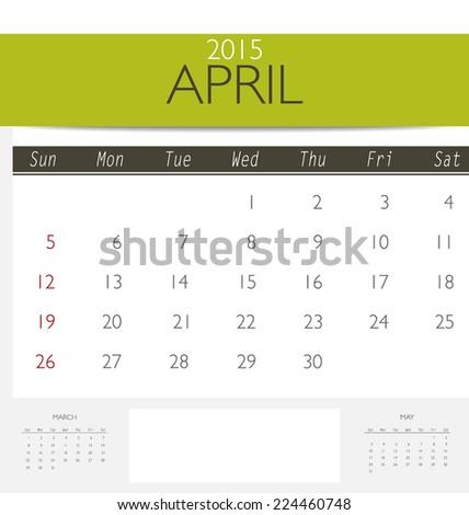 2015 Calendar Monthly Calendar Template April Stock Vector Royalty