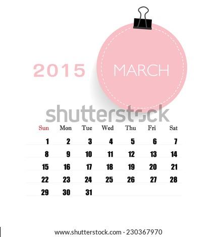 2015 Calendar Monthly Calendar Template March Stock Vector Royalty