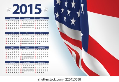 2015 calendar with USA flag