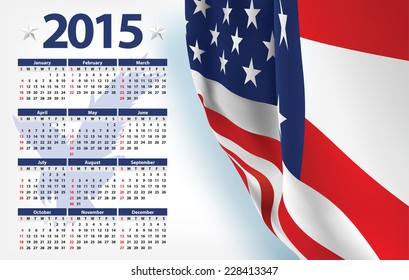 2015 calendar with USA flag Eagle