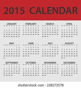 2015 Calendar Whole Year Classic Red White