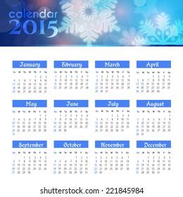 2015 Full Calendar Template - Promotion Poster Vector Design