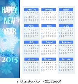 2015 Full Calendar Template - Promotion Poster Vector Design - Sunday start