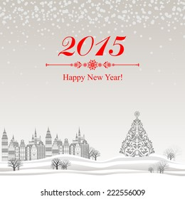 2015 Happy New Year greeting card.  Celebration background with Christmas Landscape, Christmas balls and place for your text. Vector Illustration