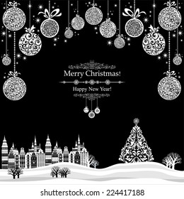 2015 Happy New Year greeting card. Christmas card. Celebration background with Christmas Landscape, Christmas tree, balls and place for your text. Vector Illustration