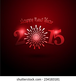 2015 Merry Christmas and Happy New Year with Firework. Vector Illustration