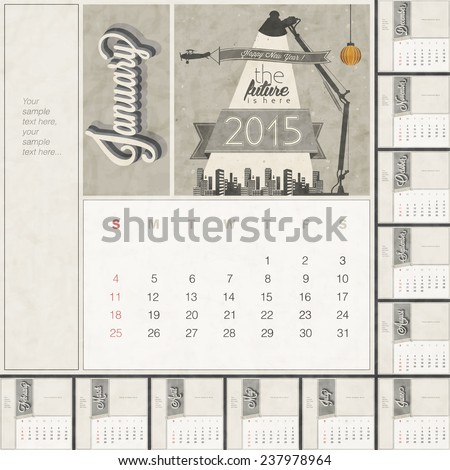 2015 Monthly Calendar Template Free Space Stock Vector Royalty Free