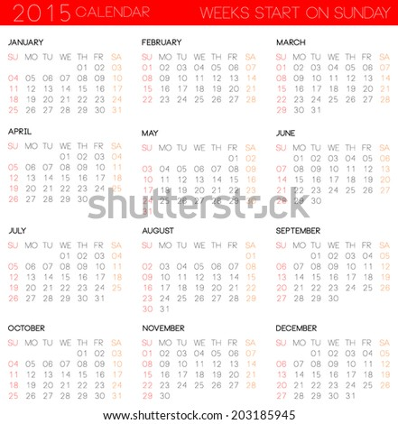 simple calendar template 2015