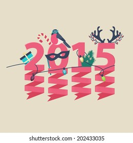 2015 New Year greeting card design with party streamers hanging from pink numerals decorated with Christmas lights, a gift, robin, tree and antlers