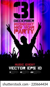2015 new year party, poster, vector