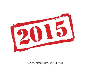 2015 new year red rubber stamp vector over a white background.
