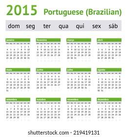 2015 Portuguese American Calendar. Week starts on Sunday