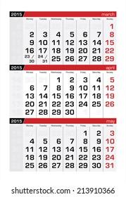 2015 Three-Month Calendar April