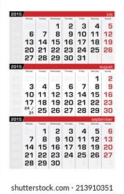 2015 Three-Month Calendar August