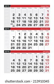 2015 Three-Month Calendar December