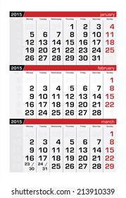 2015 Three-Month Calendar Fabruary