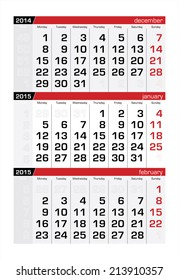 2015 Three-Month Calendar January