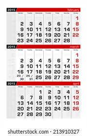 2015 Three-Month Calendar March