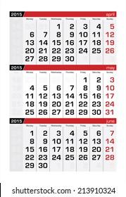 2015 Three-Month Calendar May