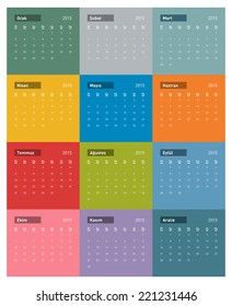 2015 Turkish Calendar in vector