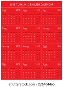 2015 Turkish & English Calendar