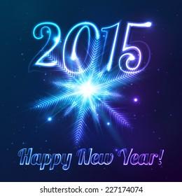 2015 vector symbol with shining cosmic snowflake