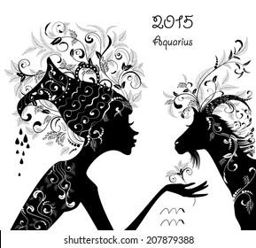 2015 year of the beautiful goat and Zodiac sign Aquarius. fashion girl