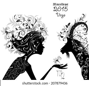 2015 year of the beautiful goat and Zodiac sign Virgo. fashion girl