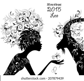 2015 year of the beautiful goat and Zodiac sign Leo. fashion girl