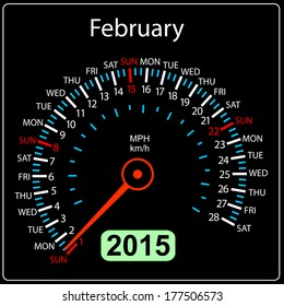 2015 year calendar speedometer car in vector. February.