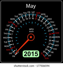 2015 year calendar speedometer car in vector. May.