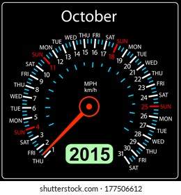2015 year calendar speedometer car in vector. October.