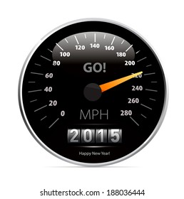 2015 year Calendar speedometer car. Vector illustration