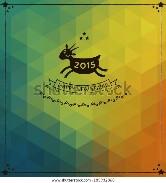 2015 Year of the Goat. Modern background with triangles