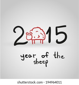2015 year hand drawn background with a sheep (symbol of 2015 year). Vector eps10.