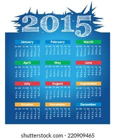 2015 year vector calendar for business wall calendar