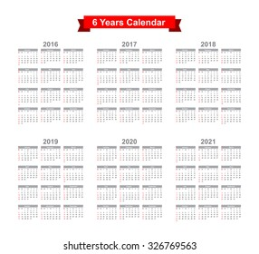 2016 2017 2018 2019 2020 2021 Calendar Black text on a white background  Vector eps10