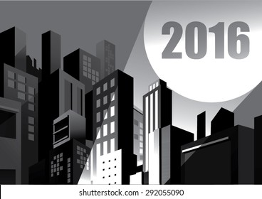 2016 calendar - buildings and blackout city, spotlight signal, comic graphic style.