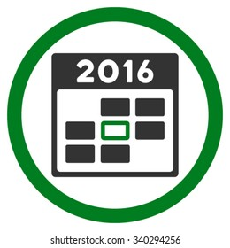 2016 Calendar Date vector icon. Style is bicolor flat circled symbol, green and gray colors, rounded angles, white background.