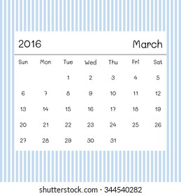 2016 calendar march blue stripe background