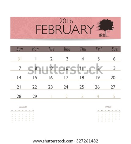 2016 calendar monthly calendar template for february vector illustration
