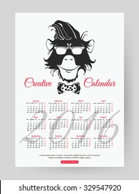 2016 calendar template design. Year of the monkey. Vector illustration.