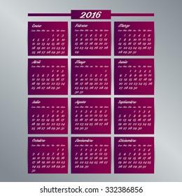2016 calendar template. Spanish calendar, Monday to Sunday. Vector