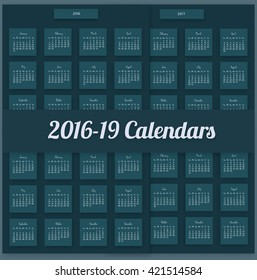 2016 Calendar template. Written by hand. 2017,2018,2019 years. Square flat mosaic design. pack with 4 bright and colourful calendars.